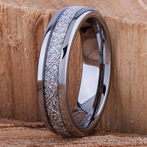 Tungsten Ring with Man-Made Meteorite 6mm - TCR135 meteorite men's wedding or engagement band or promise ring