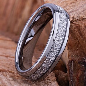Tungsten Mens Wedding Band 6mm with Single Row Man Made Meteorite, Mens Engagement Ring, Gift for Boyfriend, Anniversary Gift For Him - TCR135