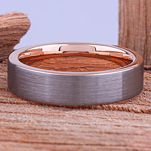 Tungsten Mens Wedding Band or Mans Engagement Ring 6mm with Rose Gold Interior & Brush Finish, Gift For Boyfriend or Husband, Tungsten Ring - TCR136