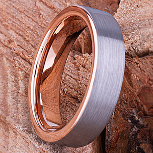 Rose Gold Tungsten Ring 6mm - TCR136 rose gold engagement band or wedding ring or promise band for boyfriend