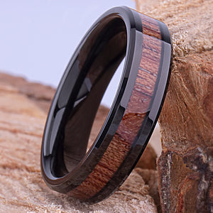 Black Tungsten Ring with Koa Wood Inlay 8mm - TCR137 black & wood men's engagement or wedding ring or anniversary band