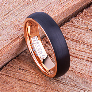 Black and Rose Gold Tungsten Ring 6mm - TCR138 rose gold men's wedding or engagement band or anniversary ring for him