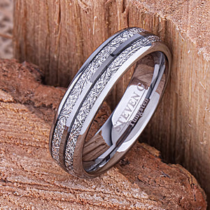 Tungsten Ring with Man Made Meteorite 6mm - TCR142 meteorite men's wedding or engagement band or promise ring for him
