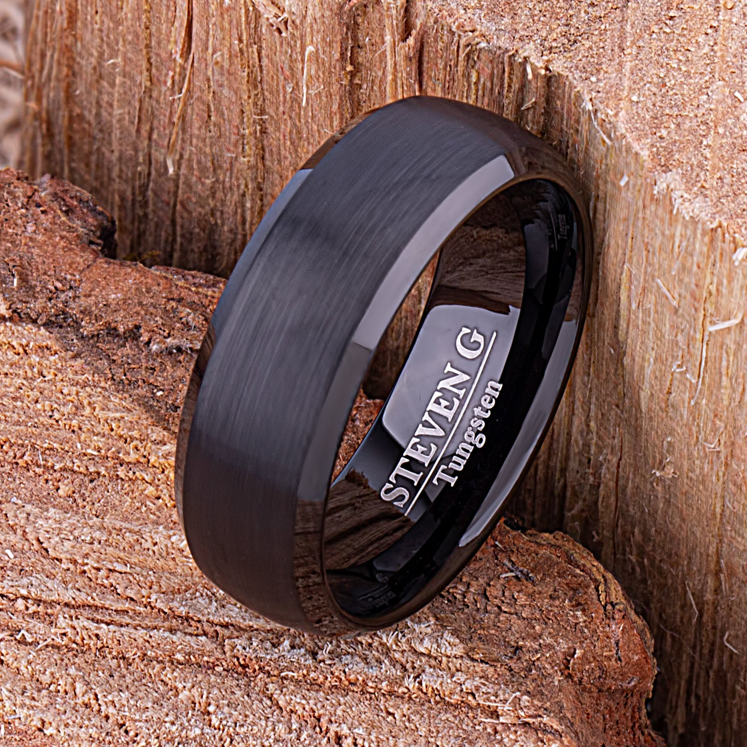 Black Tungsten Mens Wedding Ring, Mans Engagement Band, 8mm Brushed Finished Center Beveled Edge, Promise Ring for Him, Tungsten Ring Gift - TCR143