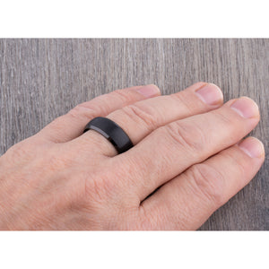 Black Tungsten Ring 8mm - TCR143 black men's engagement or wedding ring or anniversary band for husband