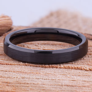 Tungsten Mens Wedding Band, Mans Engagement Ring 4mm Black Color Brushed Center Beveled Edge, Promise Ring for Boyfriend, Gift for Husband - TCR144