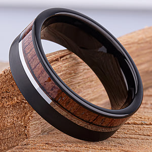 Black Tungsten Ring with Padauk Wood 8mm - TCR145 black and wood men's wedding or engagement band or promise ring