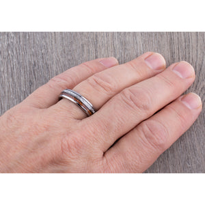 Tungsten with Sapele Wood and Man Made Meteorite 6mm - TCR146 wood & meteorite men's wedding or engagement band or promise ring