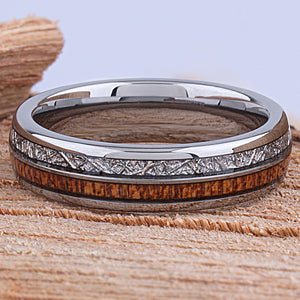 Tungsten Mens Wedding Band 6mm with Sapele Wood and Man Made Meteorite, Mens Engagement Ring, Gift for Boyfriend, Anniversary Gift For Him - TCR146