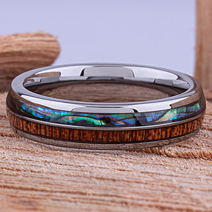 Tungsten Ring with Sapele Wood and Abalone Shell 6mm -  wood & shell men's wedding or engagement band or anniversary ring