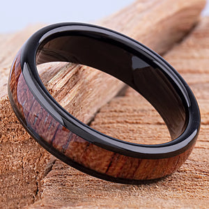 Tungsten Black Ring with Padauk Wood 6mm - black & wood men's engagement or wedding ring or anniversary band for husband