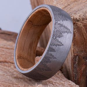 Tungsten Ring with Whisky Barrel 8mm - TCR149 wood men's wedding or engagement band or promise ring for boyfriend