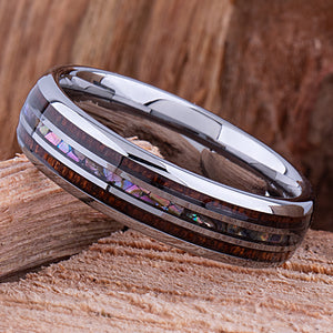 Tungsten Ring with Koa Wood and Abalone Shell 6mm - wood & shell men's wedding or engagement band or anniversary ring