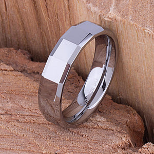 6mm Tungsten Mans Wedding Ring, Mens Engagement Band, 6mm Wide Flat Step Cut High Polished Comfort Fit, Mans Anniversary Band - TCR024