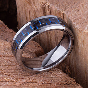 Tungsten Mens Wedding Ring 8mm with Blue and White Carbon Fiber for Mens Engagement, Unique Wedding Band, Gift For Boyfriend, Gift For Men - TCR091