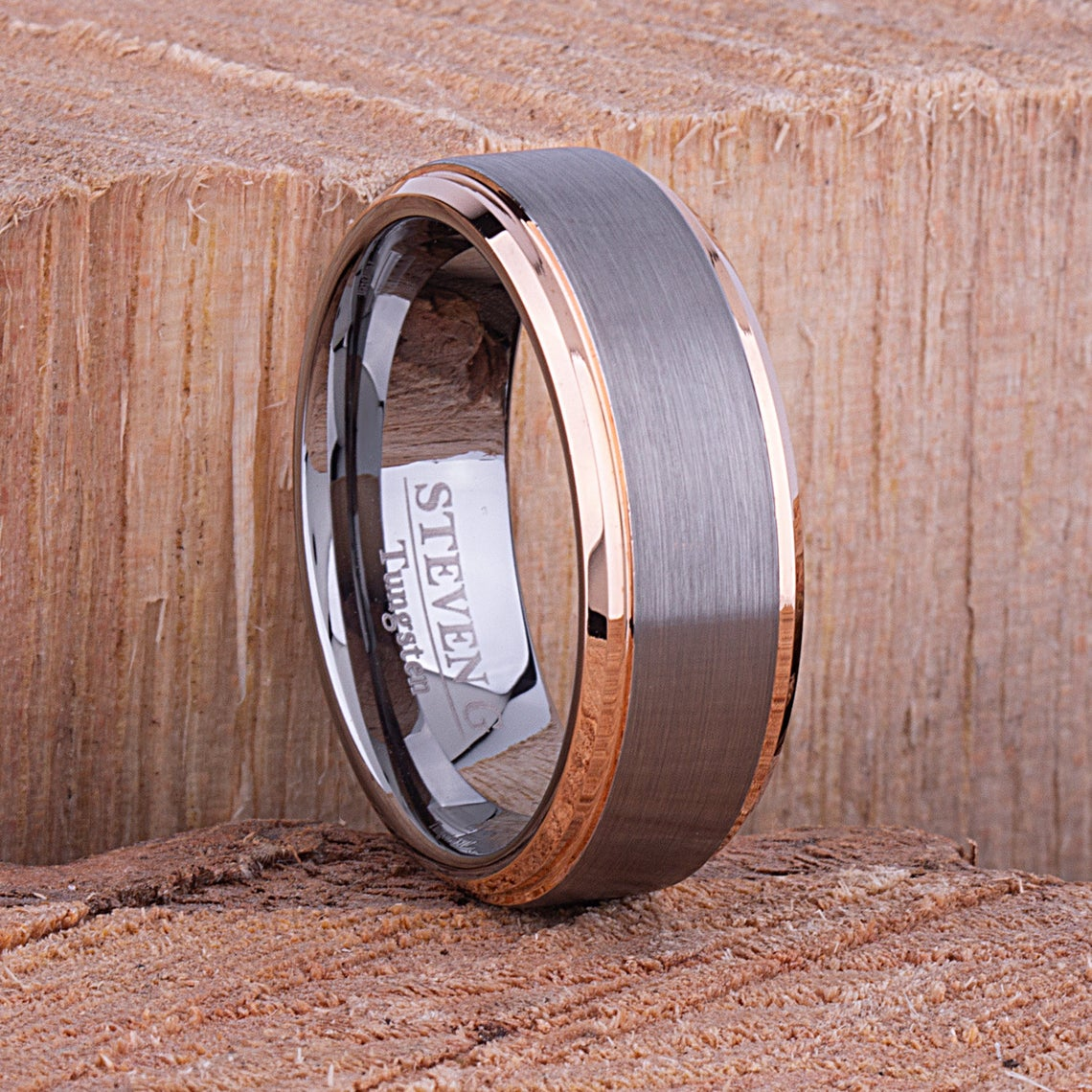 Tungsten Ring with Rose Gold 8mm - TCR082 rose gold men's wedding or engagement band or promise ring for boyfriend