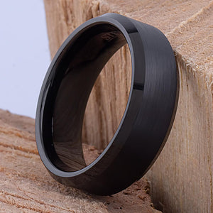 8mm Tungsten Mens Wedding Ring, Mans Engagement Band, 8mm Wide Flat Black Plating Satin Finished Center Beveled Edge, Comfort Fit - TCR031