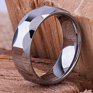 Tungsten Mens Wedding Band or Mans Engagement Ring 8mm Polished, Mans Anniversary Gift, Gift for Boyfriend or Husband, Mens Tungsten Band - TCR023