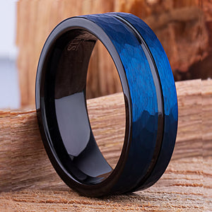 Tungsten Mens Wedding Band 8mm Blue and Black with Hammered Satin Surface for Mens Engagement Gift, Mens Promise Wedding Ring, Men's Ring - TCR086