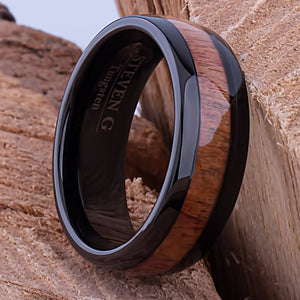 Black Tungsten Band with Koa Wood 8mm - TCR076 black and wood engagement or wedding ring or promise band for boyfriend