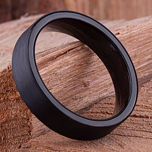 Tungsten Mens Wedding Band, Mans Engagement Ring 6mm Black Color Flat Brushed Center, Unique Wedding Band for Boyfriend, Mens Tungsten Ring - TCR127