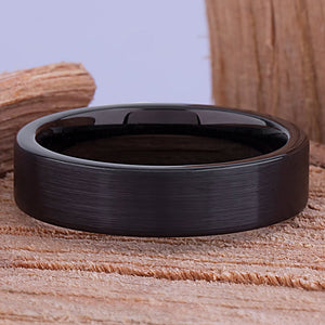 Black Tungsten Ring 6mm - TCR127 traditional black men's wedding or engagement band or anniversary ring