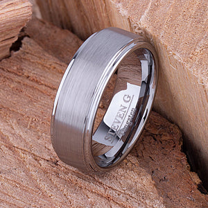 Tungsten Mens Engagement Ring, Mans Wedding Band 8mm Promise Ring for Him, Unique Wedding Band, Mens Anniversary Husband Gift, Tungsten Ring - TCR068