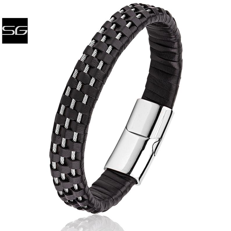 Men's Stainless Steel Wire & Black Leather Bracelet With Polished Stainless Steel Secure Magnetic Sliding Clasp Lock | Popular Gift For Men