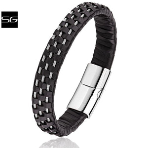 Men's Stainless Steel Wire & Black Leather Bracelet With Polished Stainless Steel Secure Magnetic Sliding Clasp Lock | Popular Gift For Men - SSLB116