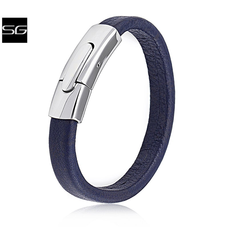 Men's Stainless Steel Dark Blue Leather Bracelet Bangle With Unique Design High Polished Steel Press Clasp Secure Lock | New Style