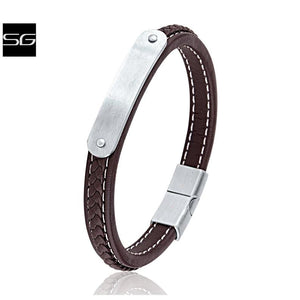Men's Stainless Steel Brown Leather Bracelet Bangle | Engraving Plate Steel Secure Magnetic Sliding Clasp Lock & White Stitching