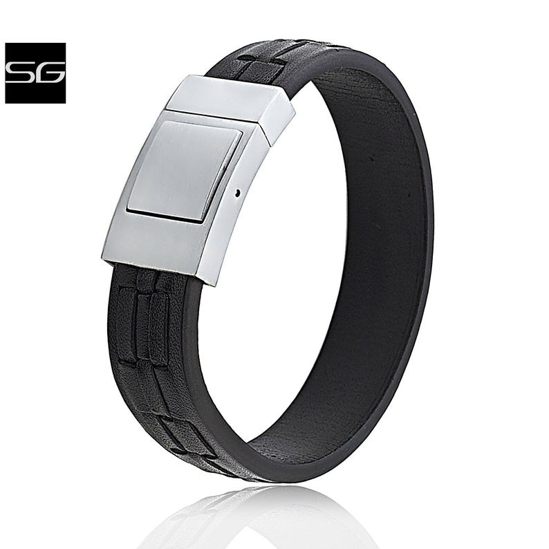Unisex Stainless Steel Black Leather Bracelet 17mm Extra Wide Weaved Patterned Design With Steel Secure Push Lock Clasp | Best Gift