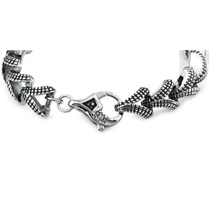 Men's Stainless Steel Bracelet With Domed 'V' Links and Stylish Secure Lobster Style Clasp Lock | Bali Style | Great Gift - SSB305