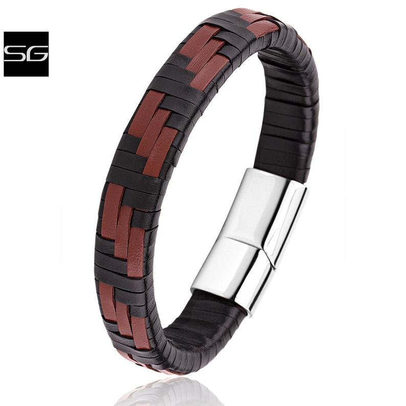 Men's Stainless Steel Black & Brown Two Tone Braided Leather Bracelet With Polished Steel Secure Magnetic Sliding Clasp Lock | Popular Gift