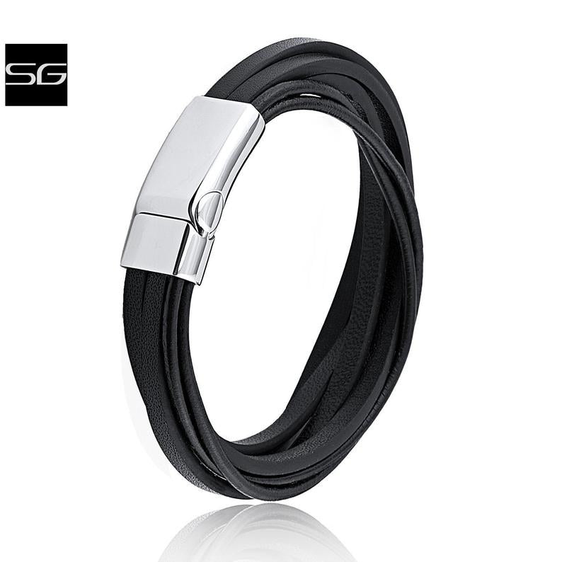 Men's Stainless Steel Black Multi-Strand Leather Bracelet With Steel Secure Magnetic Sliding Clasp Secure Lock | Best Man Gift