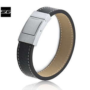 Unisex Stainless Steel Black Outside Tan Inside Color Leather Bracelet 19mm Extra Wide With Steel Secure Push Lock Clasp | Best Gift