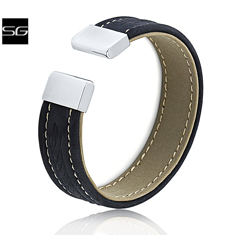 Unisex Stainless Steel Black Outside Tan Inside Color Leather Cuff Bracelet Bangle 18mm Extra Wide Adjustable Size