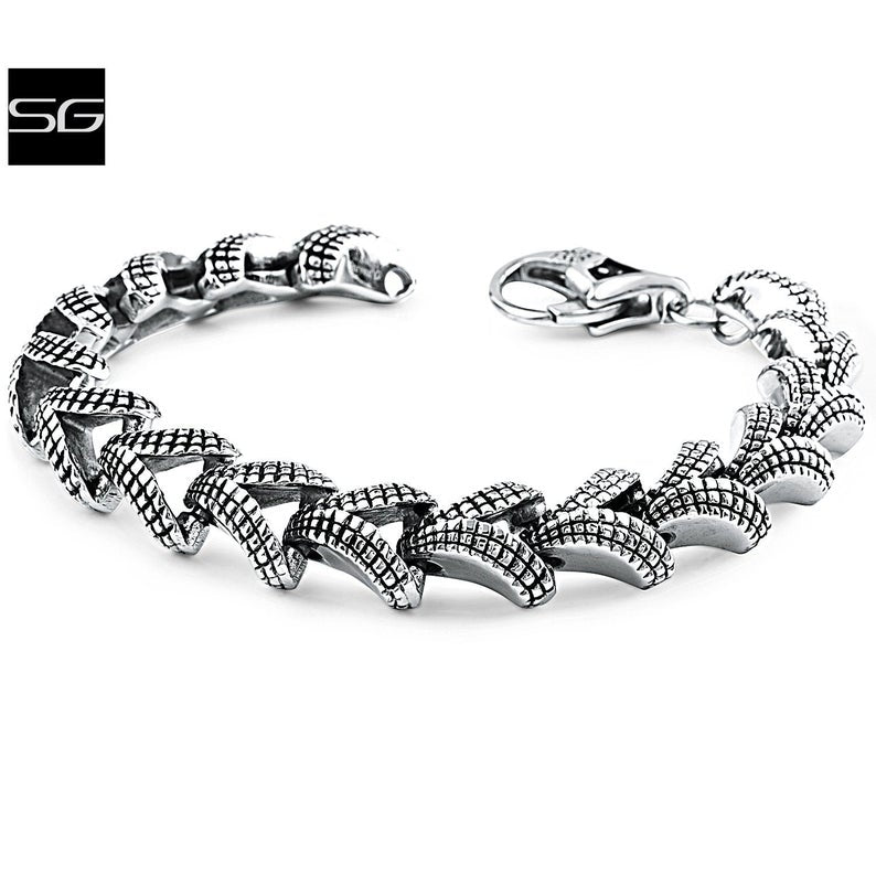 Men's Stainless Steel Bracelet With Domed 'V' Links and Stylish Secure Lobster Style Clasp Lock | Bali Style | Great Gift