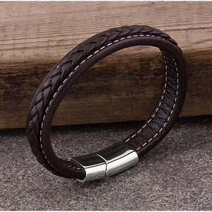 Men's Stainless Steel Dark Brown Braided White Stitched Leather Bracelet With Polished Steel Secure Magnetic Sliding Clasp Lock