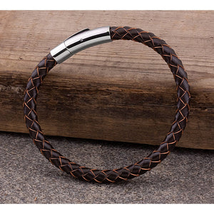 Men's Stainless Steel Brown Hand-Braided Leather Bracelet and High Polished Steel Secure Push Snap Lock | Makes a Great Gift