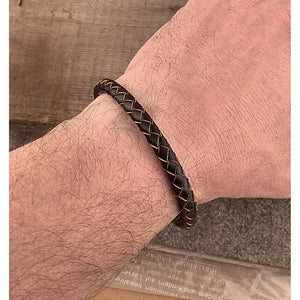 Men's Stainless Steel Brown Hand-Braided Leather Bracelet and High Polished Steel Secure Push Snap Lock | Makes a Great Gift - SSLB104BW