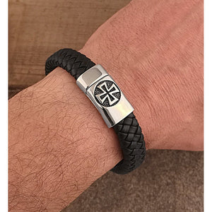 Men's Stainless Steel Black Hand-Braided Leather Bracelet With Polished Steel Secure 'X' Motif Magnetic Clasp Lock | Best Gift