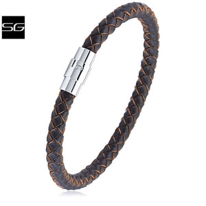 Men's Stainless Steel Brown Hand-Braided Leather Bracelet & High Polished Steel Secure Magnetic Twist Lock | Makes a Great Gift