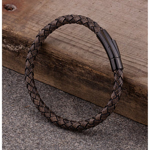 Men's Stainless Steel Tan Color Hand-Braided Leather Bracelet High Polished Black Plated Steel Secure Push Snap Lock - SSLB122