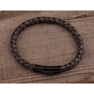 Men's Stainless Steel Tan Color Hand-Braided Leather Bracelet High Polished Black Plated Steel Secure Push Snap Lock