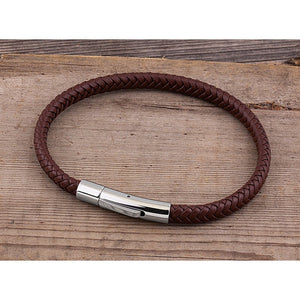 Men's Stainless Steel Dark Red Hand-Braided Leather Bracelet and High Polished Steel Secure Push Snap Lock | Best Gift