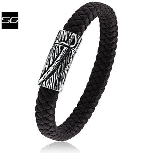 Men's Stainless Steel Black Braided Leather Bracelet With Steel Sword Carved Design Secure Magnetic Clasp Lock | Great Gift