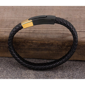 Stainless Steel Black Braided Leather Bracelet with Polished Yellow Gold, Black Plated Secure Push Clasp Lock - SSLB124
