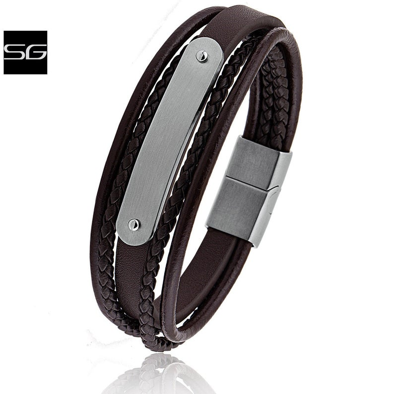 Men's Stainless Steel Dark Brown Leather Bracelet With Engraving Plate and Steel Secure Magnetic Sliding Clasp | Great Gift - SSLB126
