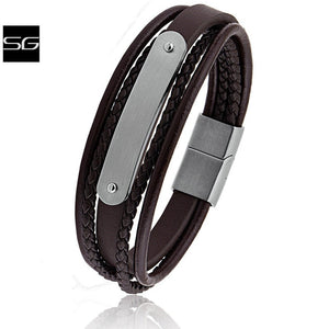 Men's Stainless Steel Dark Brown Leather Bracelet With Engraving Plate and Steel Secure Magnetic Sliding Clasp | Great Gift